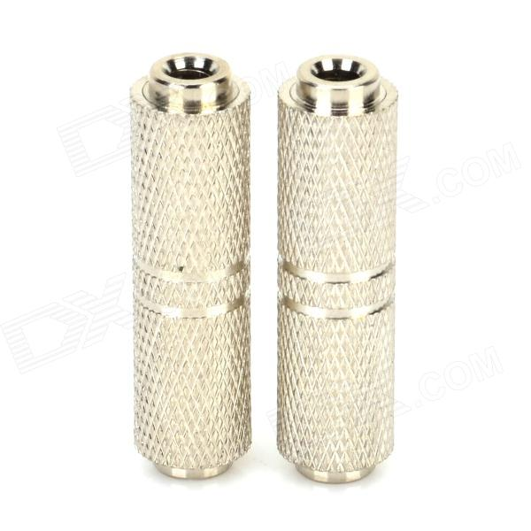 3.5mm Female to Female Extension Adapter for Speaker / MP3 / MP4 + More - Silver (2 PCS)