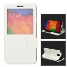 Protective PU Leather Case w/ Display Window for Samsung Galaxy Note 3 - White