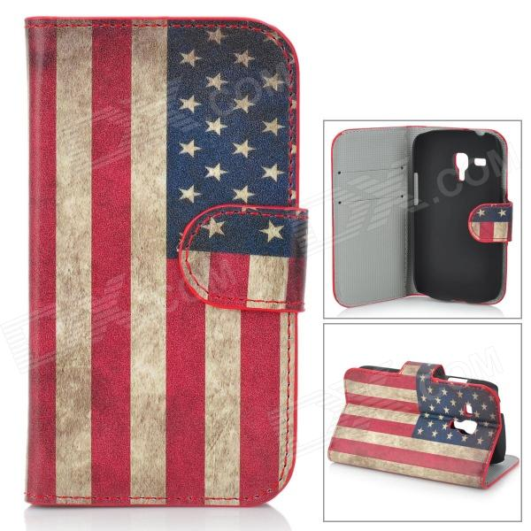 US National Flag Style Protective PU Leather Case for Samsung Galaxy S3 Mini i8190 - Red + Blue canada national flag red white 150 x 90cm