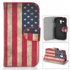 US National Flag Style Protective PU Leather Case for Samsung Galaxy S3 Mini i8190 - Red + Blue