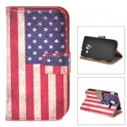 Protective American Flag Pattern PU Leather Case for Samsung Galaxy Ace 2 i8160 - Red + White + Blue