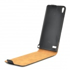 Protective Flip-Open Genuine Leather Case for Huawei P6 - Black