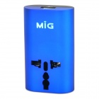 SL-215U1BE Universal USB 2-Flat-Pin / EU / US / UK / AU Plug Power Charging Adapter - Blue + Black