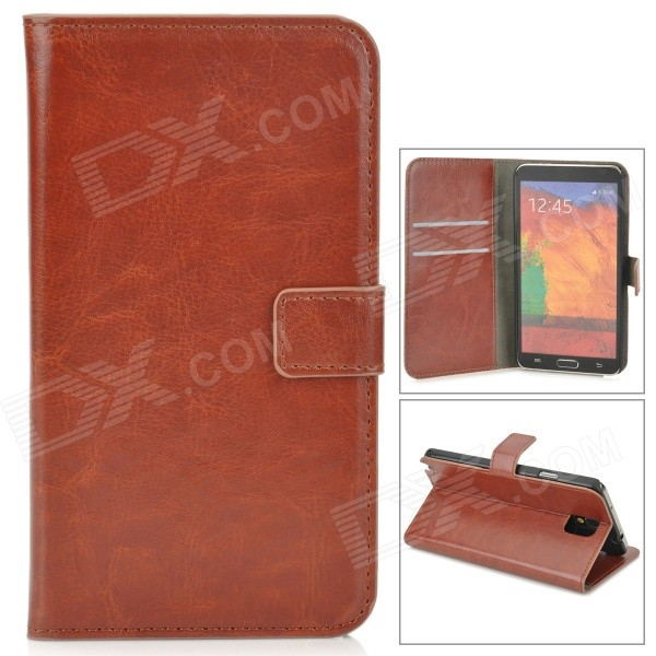 Protective PU Leather Case w/ Card Slot for Samsung Galaxy Note 3 - Brown metal ring holder combo phone bag luxury shockproof case for samsung galaxy note 8
