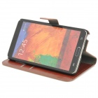 Protective PU Leather Case w/ Card Slot for Samsung Galaxy Note 3 - Brown