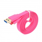 USB to Micro USB 3.0 9-Pin Data/Charging Flat Cable for Samsung Note 3 N9000 - Deep Pink (100CM)