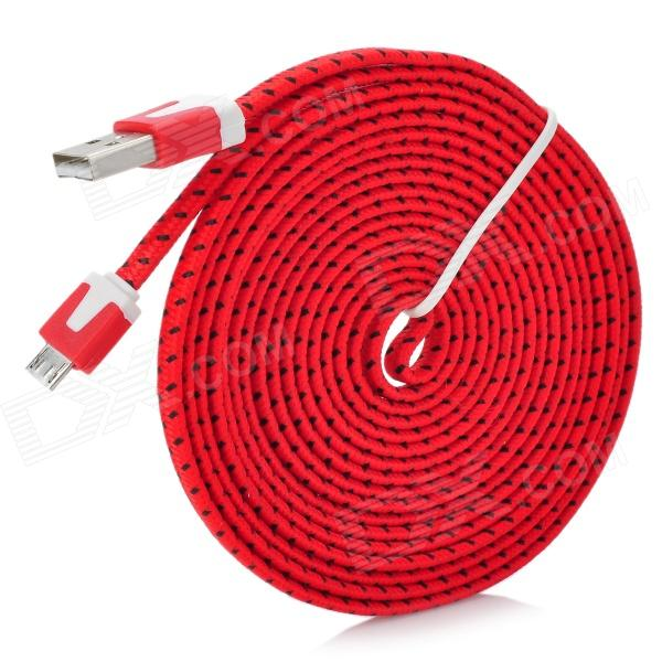 USB to Micro USB Data/Charging Flat Nylon Cable for Samsung / HTC / Nokia / Xiaomi - Red + Black richino rs m01 usb to micro usb data charging cable for nokia samsung htc motorola orange