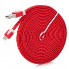 USB to Micro USB Data/Charging Flat Nylon Cable for Samsung / HTC / Nokia / Xiaomi - Red + Black