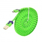 USB to Micro USB Data/Charging Flat Nylon Cable for Samsung / HTC / Nokia / Xiaomi - Green + Purple