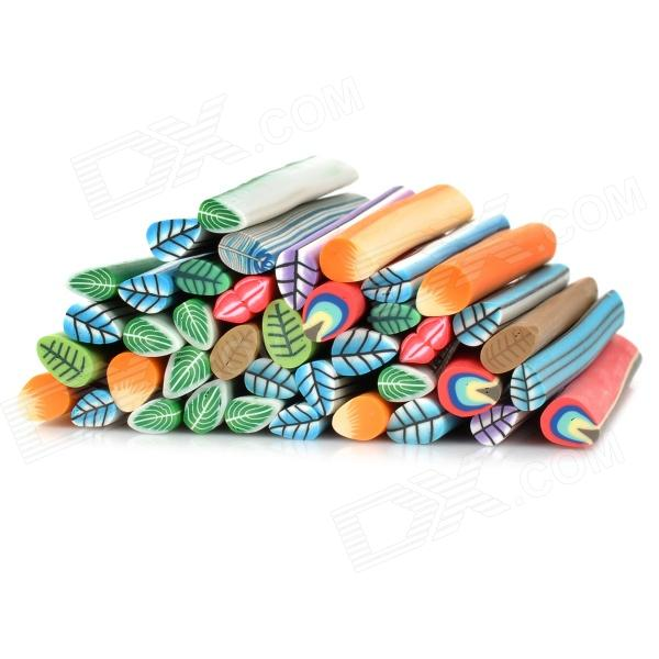 KQH036-5 40-in-1 3D Leaf Pattern DIY Polymer Clay Decoration Stick Set - Multicolored kqh036 5 40 in 1 3d heart pattern diy polymer clay decoration stick set multicolored