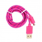 USB to Micro USB Data/Charging Nylon Cable for Samsung / HTC / Nokia / Xiaomi - Deep Pink + Purple