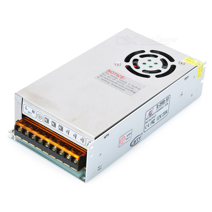 S-240-12 240W 12V 20A LED Switching Power Supply (110/240V)Switching Power Supply<br>BrandN/A ModelS-240-12MaterialAluminum alloy Quantity1 ColorSilver Power110/240V +/-15% Operating Temperature10C~60C WaterproofNO OtherUses imported electronic components, high performance; Built-in WMI filter, high anti-interference; Small DC wave, high working efficiency; Good insulation properties, high dielectric strength; Short circuit, overload, over-voltage protection function; Suitable for LED billboards, LED display, luminous characters, lights, light strip module, security, monitoring, etc; Over-load protection: 105%~200% (Rated load); Over-voltage protection: 115%~135% (Rated output voltage) Packing List1 x Switching power supply<br>
