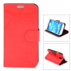 FLOWER SHOW Protective PU Leather Case for Samsung Galaxy S4 i9500 - Red