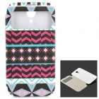 Tribal Totem Style PU Leather + PC Case w/ Auto Sleep for Samsung Galaxy S4 i9500 - Multicolored