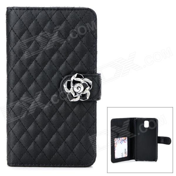 Plaid Pattern PU Leather Flip-Open Case for Samsung Galaxy Note 3 - Black metal ring holder combo phone bag luxury shockproof case for samsung galaxy note 8