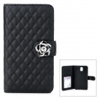Plaid Pattern PU Leather Flip-Open Case for Samsung Galaxy Note 3 - Black