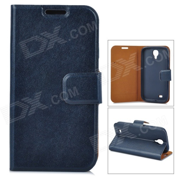 Protective PU Leather Case w/ Card Slot for Samsung Galaxy S4 - Blue protective pu leather case w card slot for samsung galaxy s4 grey