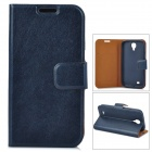 Protective PU Leather Case w/ Card Slot for Samsung Galaxy S4 - Blue