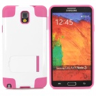 Protective TPU + PU Back Case for Samsung Galaxy Note 3 / N9000 - White + Deep Pink