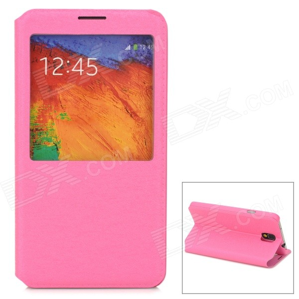 Protective PU Leather Case w/ Display Window for Samsung Galaxy Note 3 / N7200 - Deep Pink protective flip open pu leather case w display window stand for samsung note 3 n7200 white