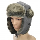 B12051 Outdoor Sports Skiing Earmuffs Warm Keeping Flocked Cloth Cap for Men - Grey