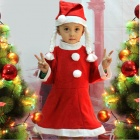 Kid's Cute Non-woven Cloth Dress + Hat for Christmas - Red + White