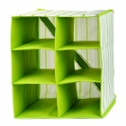 6G Folding 6-Compartment Non-Woven Storage Box for Clothes - Green