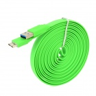USB to Micro USB 3.0 9-Pin Data/Charging Flat Cable for Samsung Galaxy Note 3 N9000 - Green (295CM)