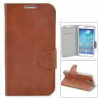 Protective PU Leather Case w/ Card Slot for Samsung Galaxy S4 i9500 - Brown