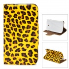 Y-320-U021 Cool Leopard Style Protective PU Leather Case for Samsung i9082 - Yellow + Brown