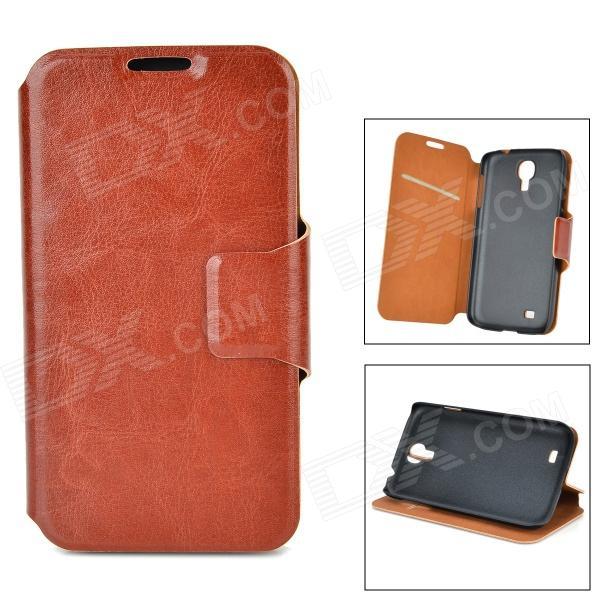 Protective PU Leather Case w/ Card Slot for Samsung Galaxy S4 - Brown protective pu leather case w card holder for samsung galaxy s4 i9500 brown