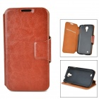 Protective PU Leather Case w/ Card Slot for Samsung Galaxy S4 - Brown