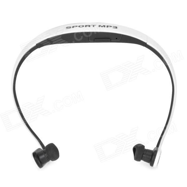 Rechargeable Sports MP3 Player Headset w/ TF - White + Grey