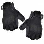 HANDCREW Outdoor Sport Fiber + Lycra Half-Finger Gloves - Black (Pair / XL)