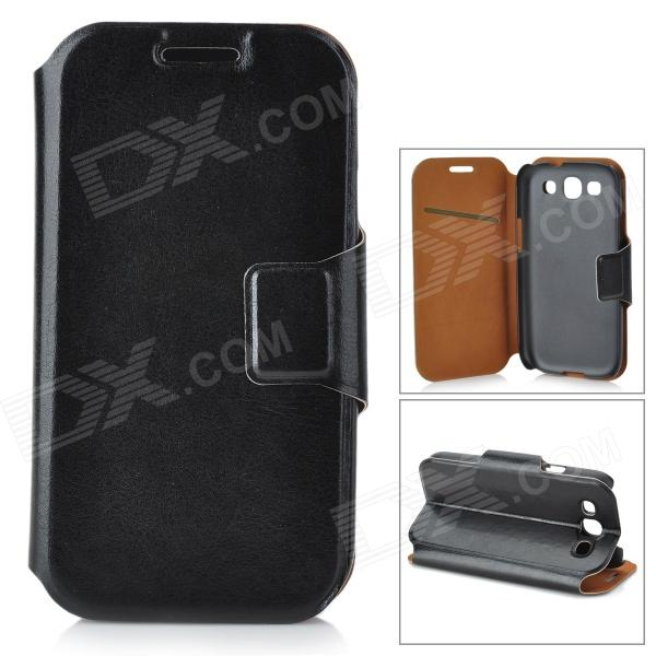 Protective PU Leather Case w/ Card Slot for Samsung Galaxy S3 i9300 - Black cool snake skin style protective pu leather case for samsung galaxy s3 i9300 brown