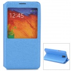 Protective PU Leather Case w/ Display Window for Samsung Galaxy Note 3 / N7200 - Blue