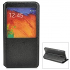 Protective PU Leather Case w/ Display Window for Samsung Galaxy Note 3 / N7200 - Black