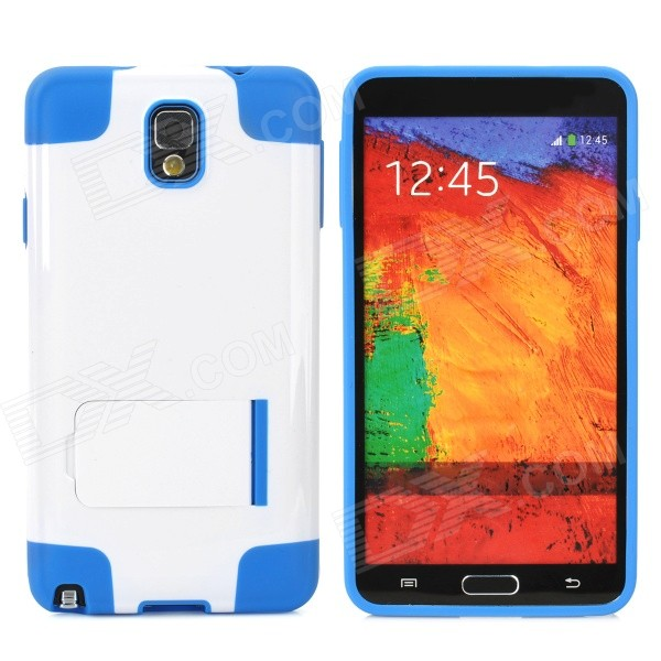 Protective TPU + PU Back Case w/ Stand for Samsung Galaxy S4 / i9500 - White + Blue protective silicone back case w stand for samsung galaxy note 3 translucent grey white