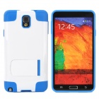 Protective TPU + PU Back Case w/ Stand for Samsung Galaxy S4 / i9500 - White + Blue
