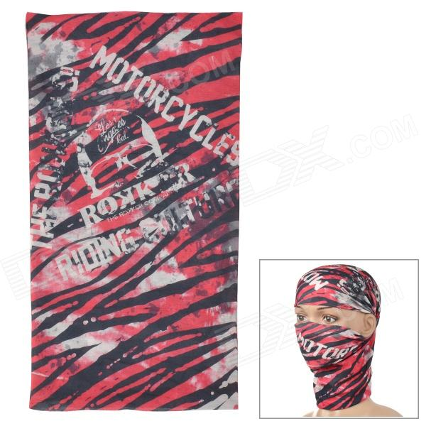 Acacia 6032510 Skull Pattern Seamless Polyester Head Scarf for Men - Red + Black