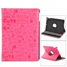 Cute Pattern 360 Degree Rotatable Protective 3-Fold PU + Plastic Case w/ Stand for iPand Air - Pink