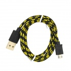 USB to Micro USB Data/Charging Nylon Cable for Samsung / HTC / LG / Nokia / Xiaomi - Black + Yellow