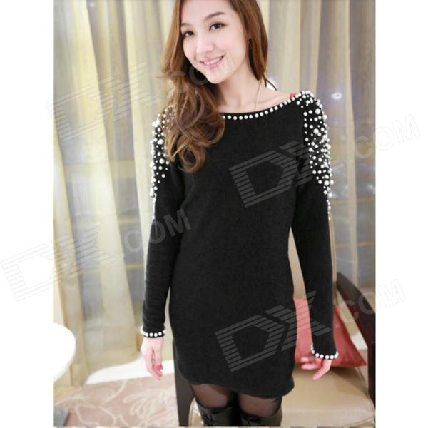 D868 Sexy Blended Cotton Backless Slim Long-Sleeves Dress for Women - Black