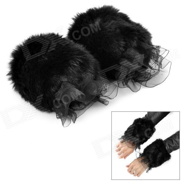 Fashion Sunday Angora Yarns Arm Sleeves for Women - Black (1 Pair / Free Size) pair of chic hollow out lace arm sleeves for women
