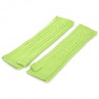 HQS-G105946 Fashion Wool Long Fingerless Gloves for Women - Green (Pair)