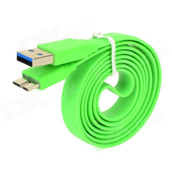 USB to Micro USB 3.0 9-Pin Data/Charging Flat Cable for Samsung Galaxy Note 3 N9000 - Green (100CM) usb to micro usb charging data cable for samsung galaxy note 3 white black 100cm