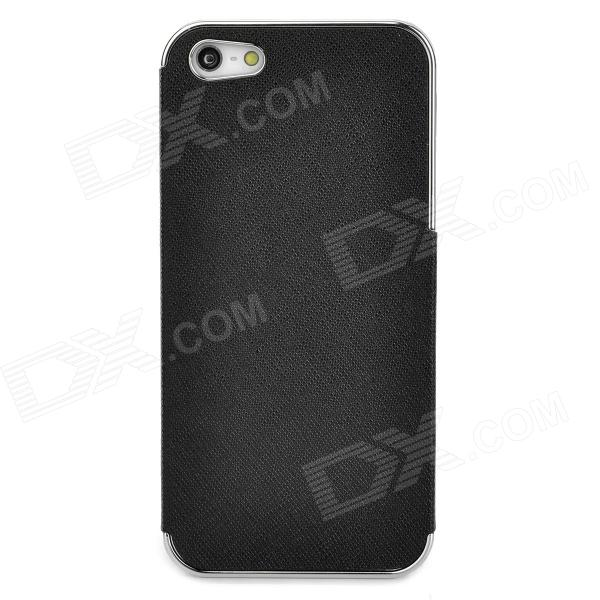 ZZ001 Protective PU Leather + PC Back Case for Iphone 5 - Black + Silver