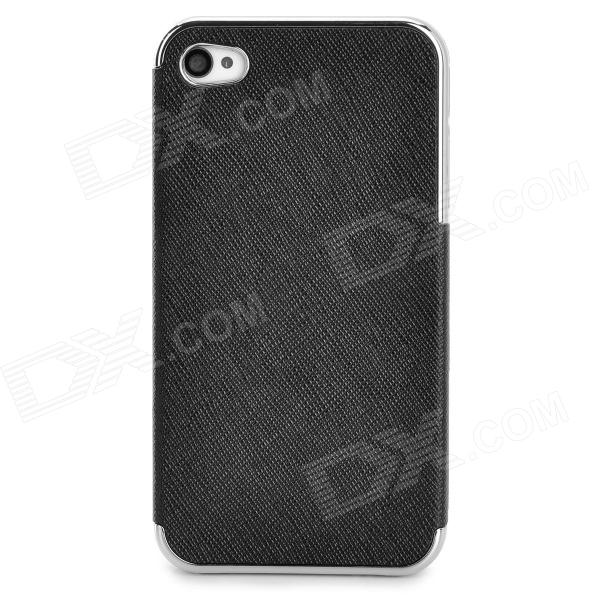ZZ001 Protective PU Leather + PC Back Case for Iphone 4 / 4s - Silver + Black stylish bubble pattern protective silicone abs back case front frame case for iphone 4 4s