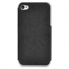 ZZ001 Protective PU Leather + PC Back Case for Iphone 4 / 4s - Silver + Black