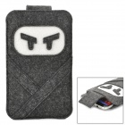 Protective Ninja Style Felt Pouch Case for Samsung Galaxy Note 3 - Deep Grey + White